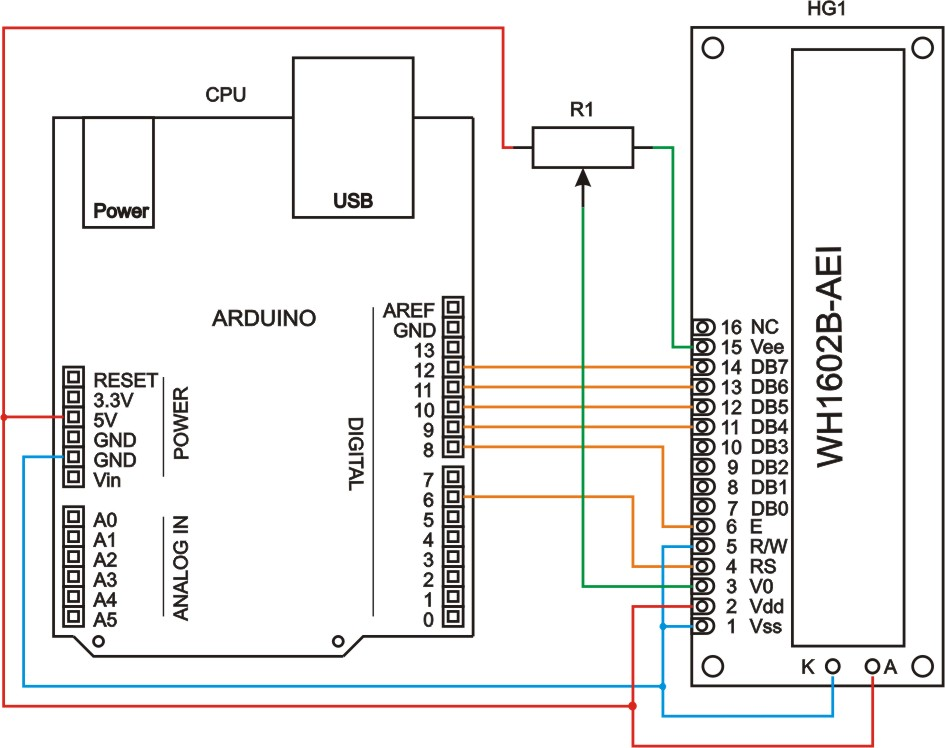 Схема подключения ЖК-дисплея к Arduino